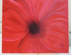 Red Flower in Oil