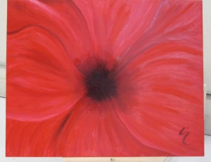 Red Flower in Oil